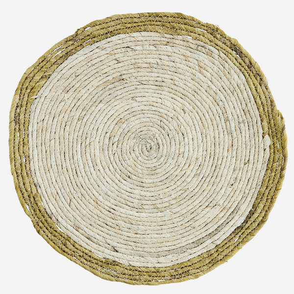 Set Of Four Natural Round Placemat With Lemon Rim
