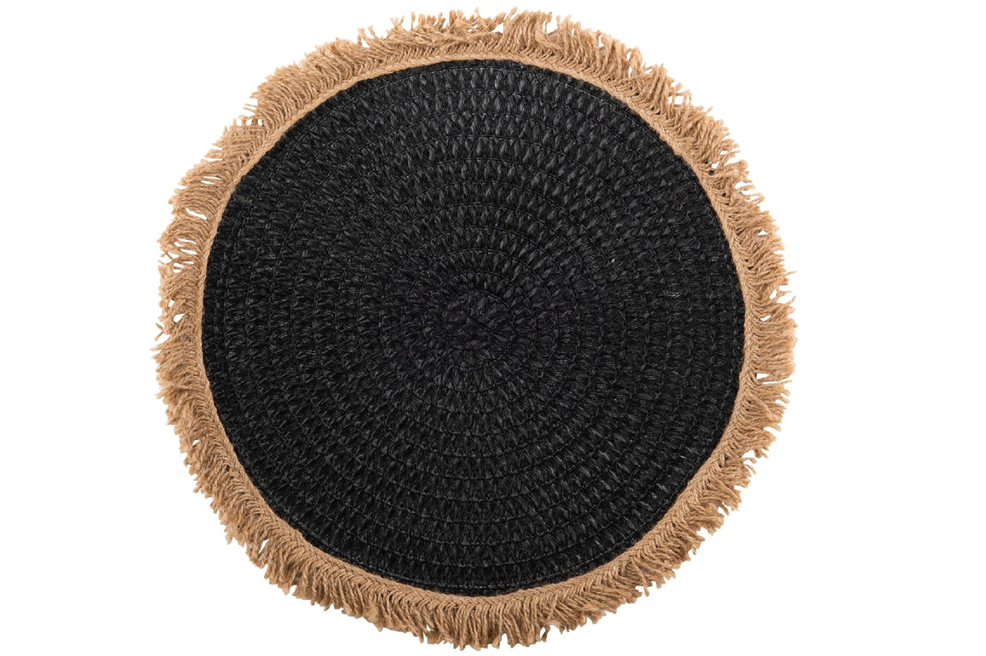Round Black Jute Placemat with Natural Fringing