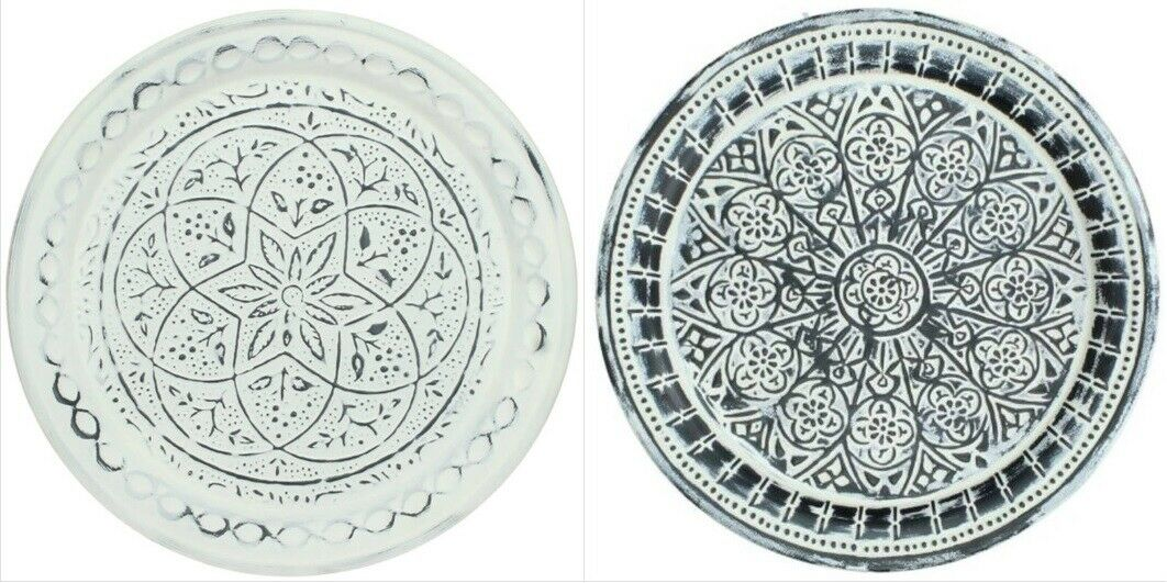 Round Metal Serving Tray  Boho Style Wall Art