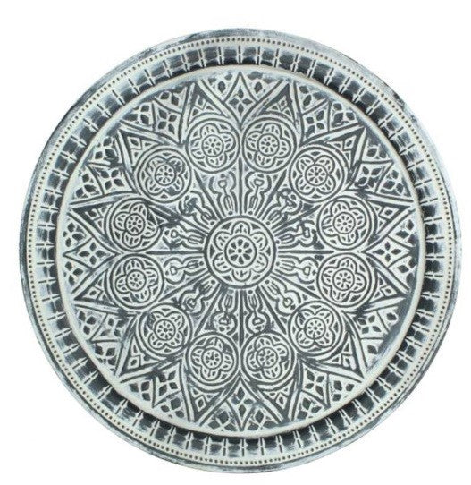 Ornate Metal Tray Round Candle Holder Plate