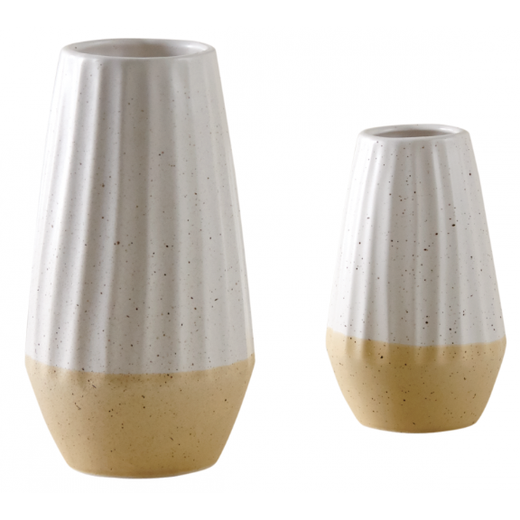 Two Tone Ceramic Vase Scandi Dip Style Flower Pot