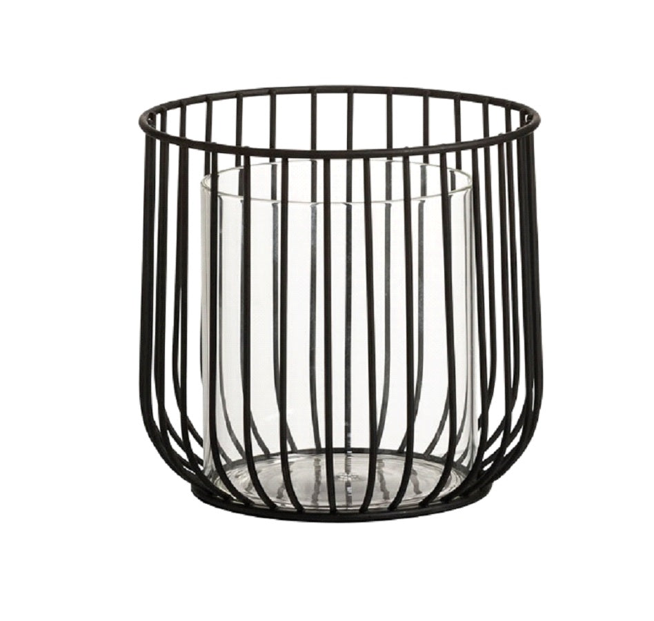 Round Black Tea Light Holder