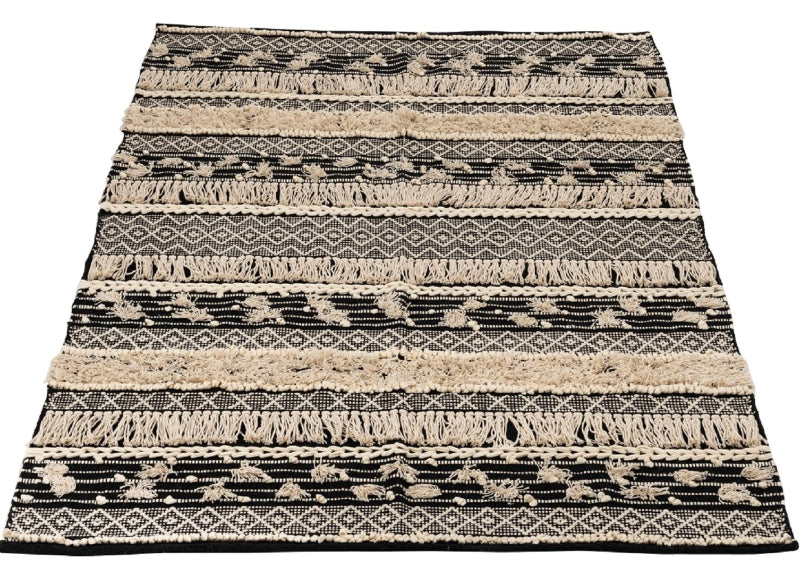 Cotton Monochrome Rug With Tufts & Tassels