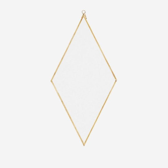 Diamond Shape Mirror With Brass Metal Frame