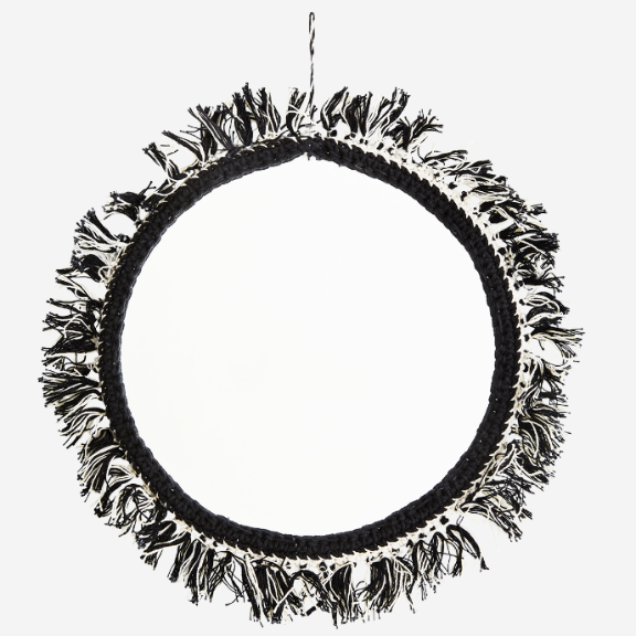 Black And White Fabric Tassel Wall Mirror