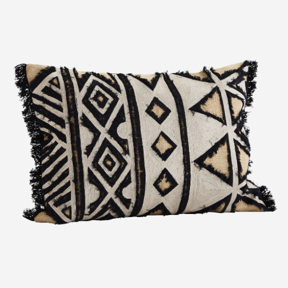 Abstract Embroidered Cushion Cover With Fringe Detailing