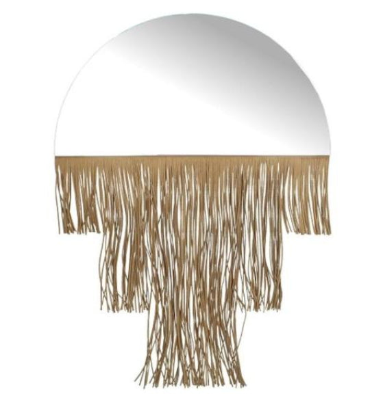 Art Deco Curved Mirror with Fringe Tassel Edging