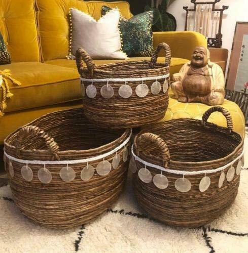Round Wicker Moroccan Storage Laundry Basket