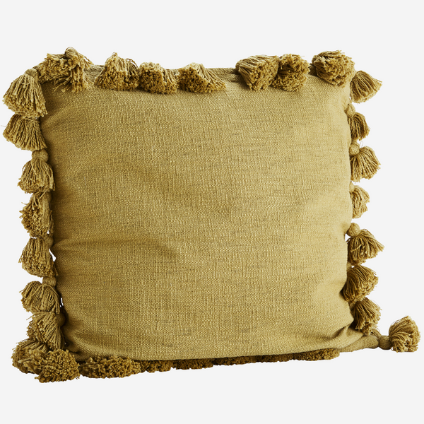 Mustard Cotton Cushion With Tassels