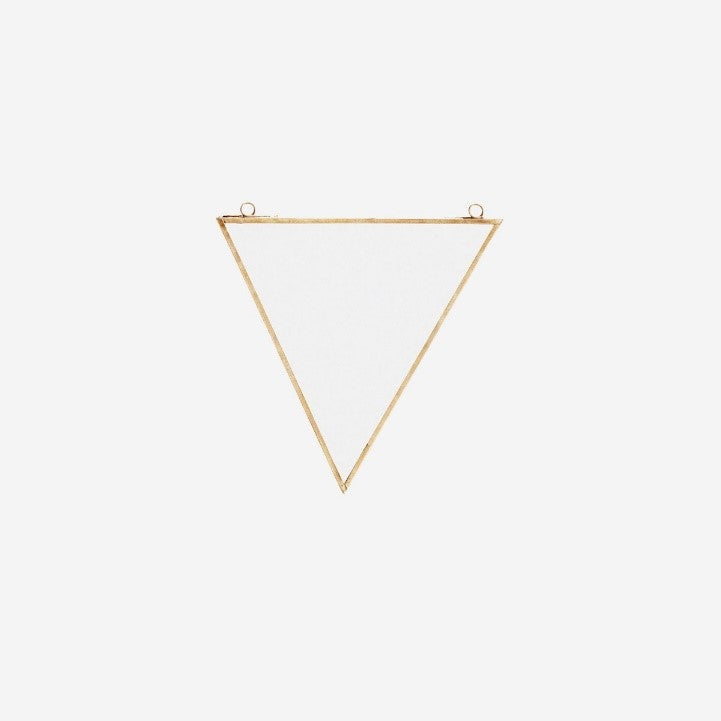 Triangular Mirror With Brass Metal Frame