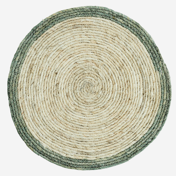 Set Of Four Round Placemat With Green Rim