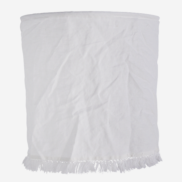 White Linen Lampshade With Fringe Edging