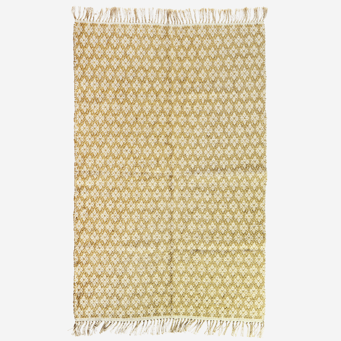 Geometric Woven Cotton Rug With Fringed Tassels