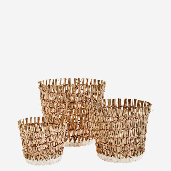 Set of Three Woven Seagrass Rustic Lined Plant Pots