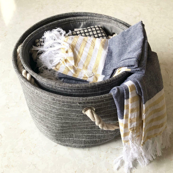 Set Of 2 Grey Round Canvas Storage Baskets