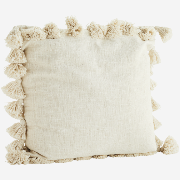 Cream Cotton Cushion With Tassels