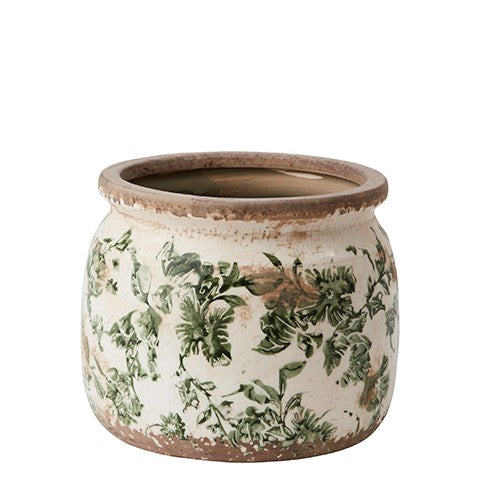 Rustic Pottery Green Ceramic Floral Plant Pot