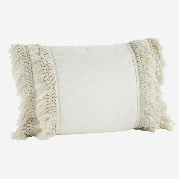 Cream Cushion With Tassels And Fringe Edging
