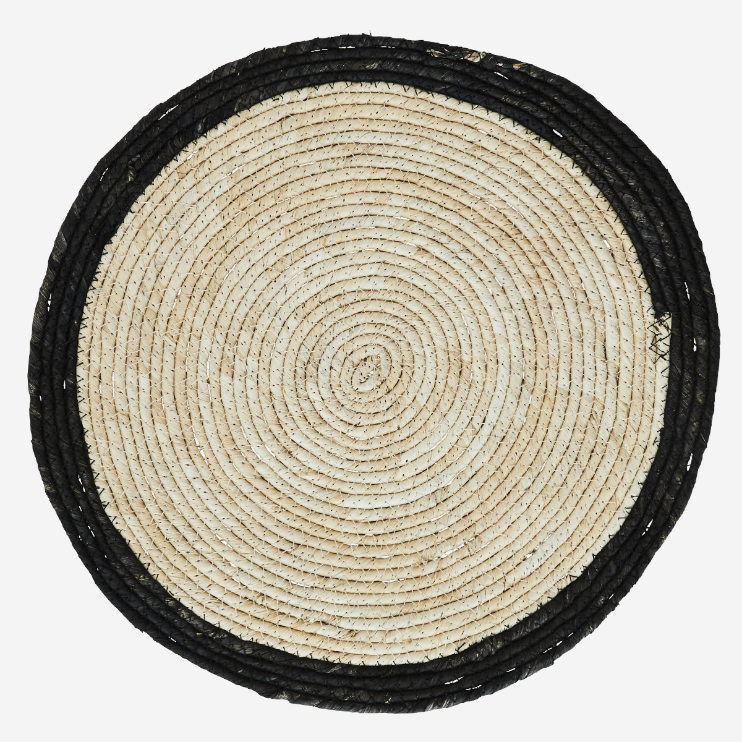 Set Of Four Natural Round Placemat With Black Rim