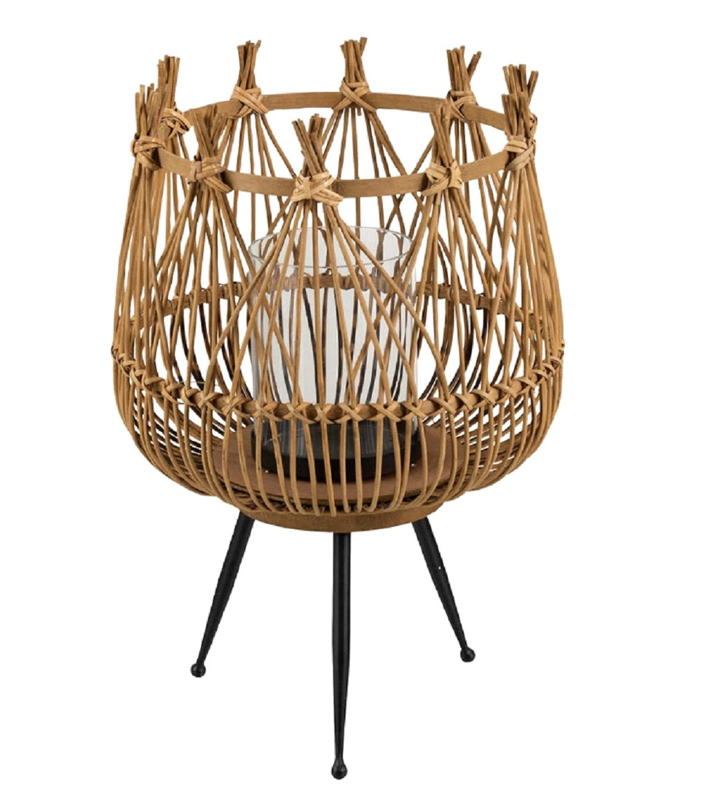 Natural Bamboo Lantern On Stand