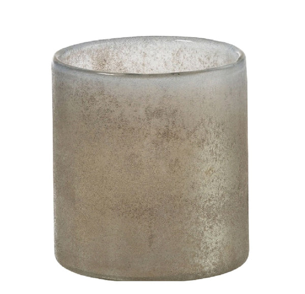 Grey Mottled Glass Tea Light Holder