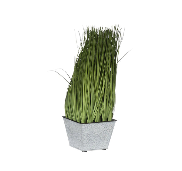 Faux Grass in Metal Pot