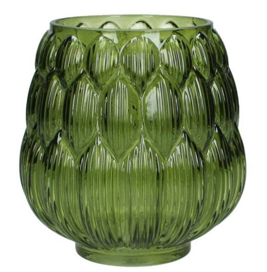 Vintage Style Green Glass Decorative Pot