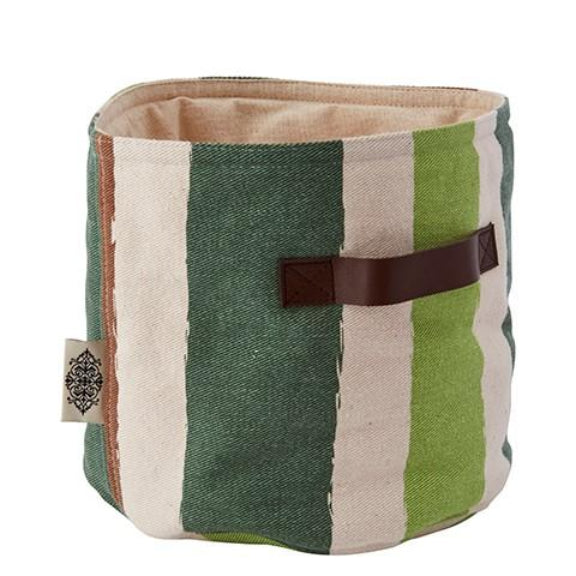 Round Fabric Green Pastry Basket With Handles