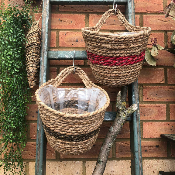 Round Wicker Hanging Plant Wall Basket