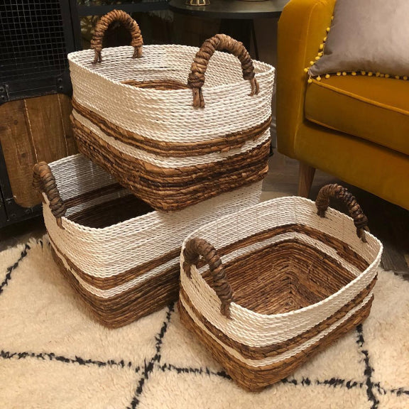 Boho Woven Wicker Storage Basket