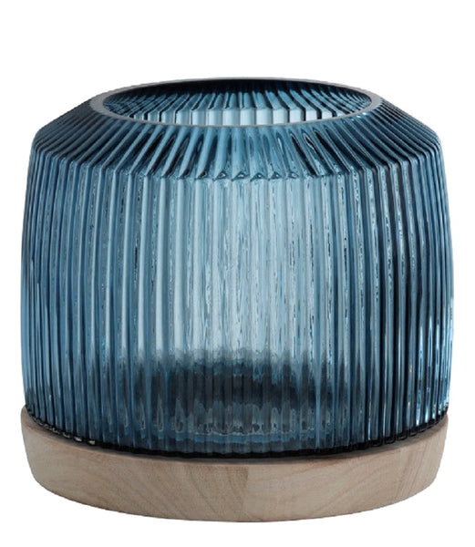 Round Blue Ribbed Glass Vase