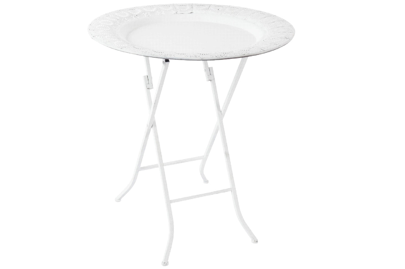 Round White Metal Folding Table