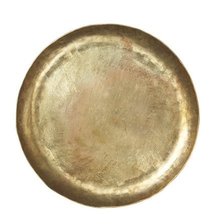 Ornate Round Brass Tray Metal Candle Holder Plate