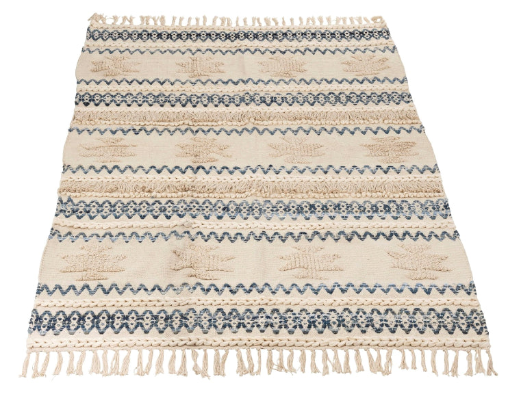 Denim Blue And White Rug With Tassels