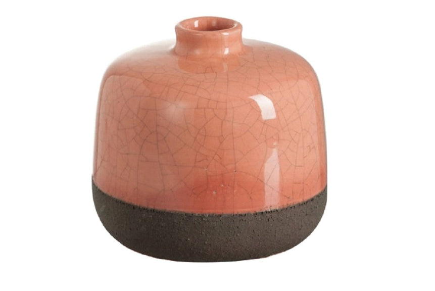Crackle Glaze Ceramic Vase Two Tone Terracotta