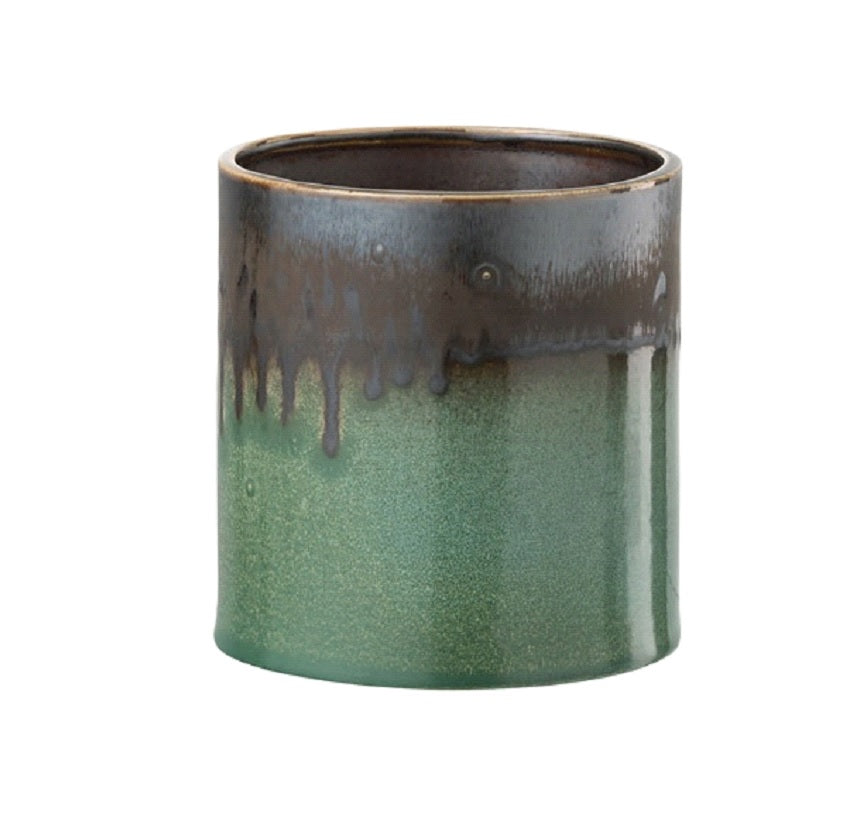 Sarah Dribble Plant Pot In Green And Brown
