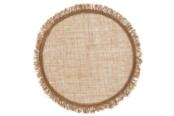 Round Natural Jute Fringed Placemats