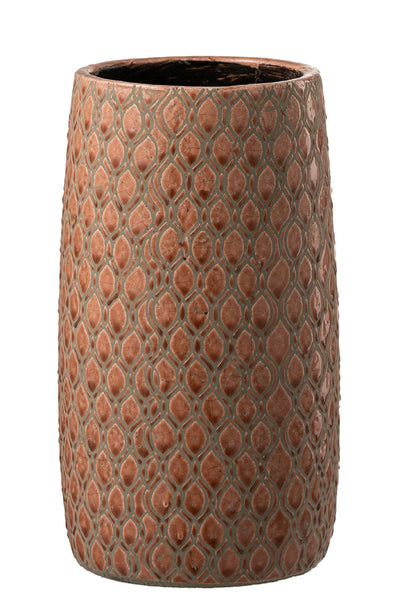 Terracotta Tribal Pattern Vase