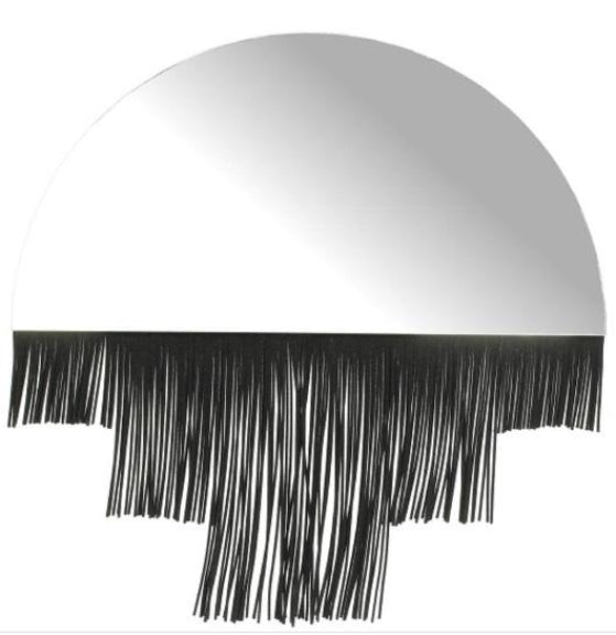 Art Deco Curved Mirror with Fringe Edging