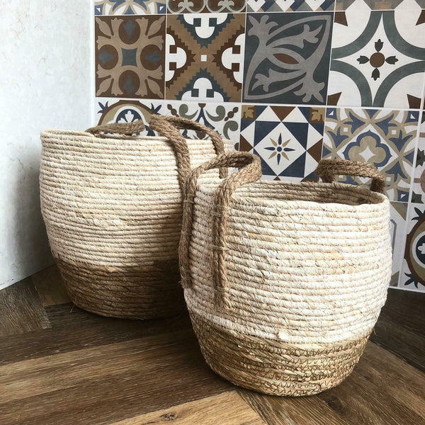 Round Wicker Floor Storage Nesting Basket