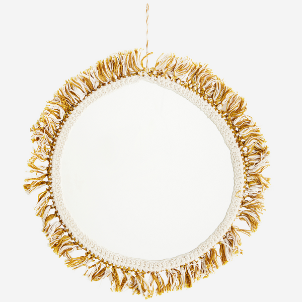 Mustard And Ivory Fabric Tassel Wall Mirror