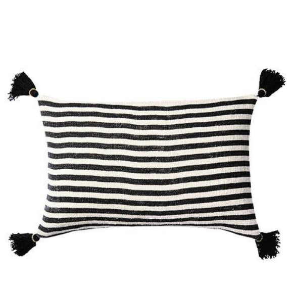 Large Rectangular Black And White Striped Cushion