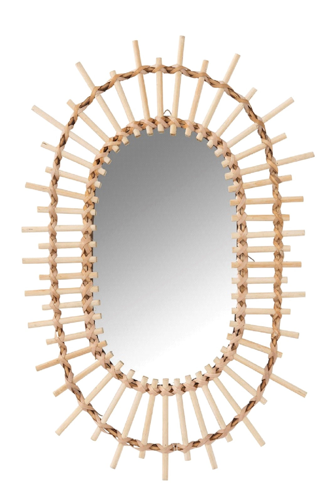 Oval Natural Bamboo Sun Mirror