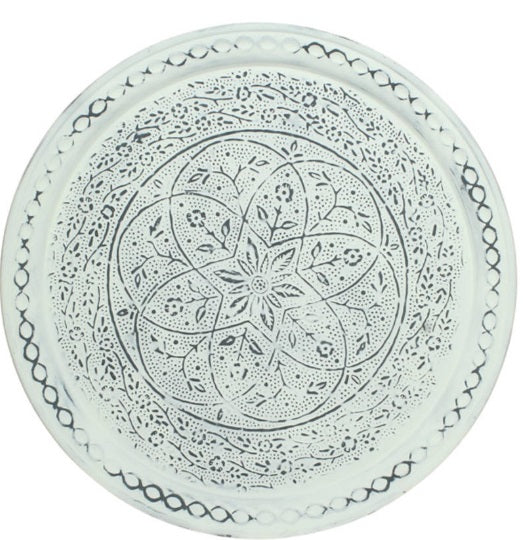 Scandi Round Metal Serving Tray Wall Art Decoration