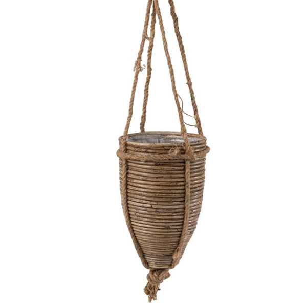 Hanging Rattan And Rope Planter