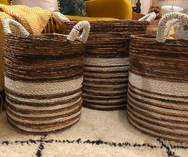 Two Tone Round Woven Wicker Storage Basket