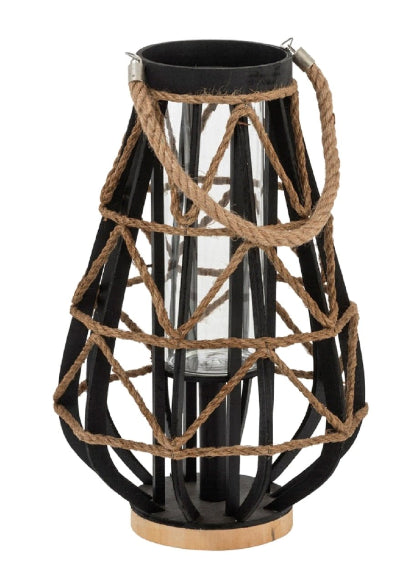 Black Bamboo Jute Rope And Glass Lantern