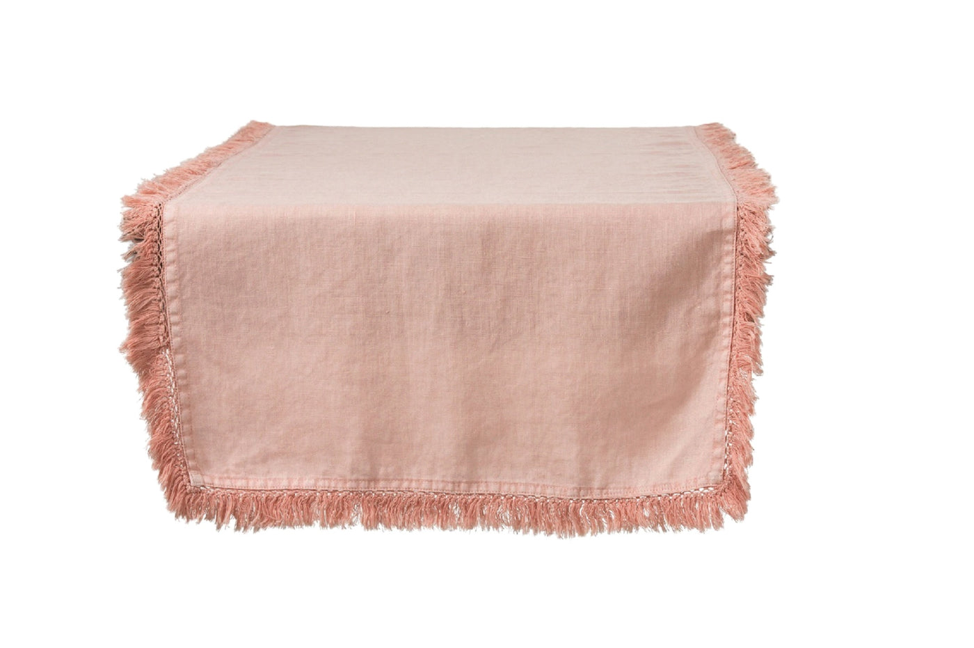 Peach Linen Table Runner With Fringing