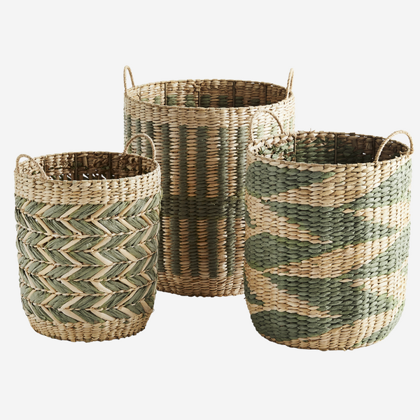 Set of Three Woven Grass Storage Basket