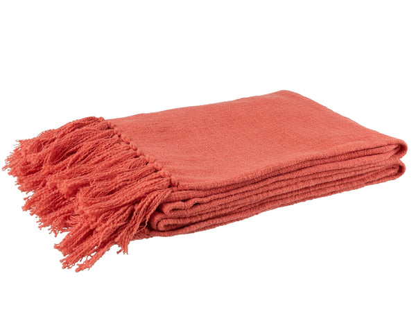 Orange Cotton Throw with Tassels